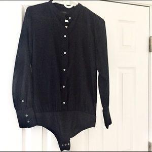 💥J CREW *NWT* Black silk bodysuit -sz S